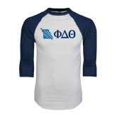 White/Navy Raglan Baseball T-Shirt-Missouri w/ Greek Letters
