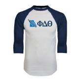 White/Navy Raglan Baseball T-Shirt-Missouri w/ Greek Letters