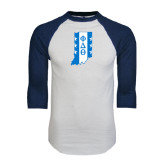 White/Navy Raglan Baseball T-Shirt-Indiana