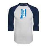 White/Navy Raglan Baseball T-Shirt-Indiana