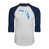 White/Navy Raglan Baseball T-Shirt-Florida