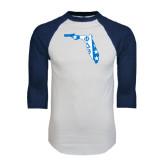 White/Navy Raglan Baseball T-Shirt-Florida