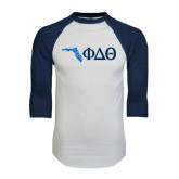 White/Navy Raglan Baseball T-Shirt-Florida w/ Greek Letters