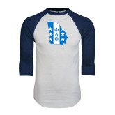 White/Navy Raglan Baseball T-Shirt-Georgia