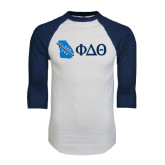 White/Navy Raglan Baseball T-Shirt-Georgia w/ Greek Letters