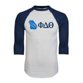 White/Navy Raglan Baseball T-Shirt-Georgia w/ Greek Letters