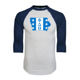 White/Navy Raglan Baseball T-Shirt-Iowa