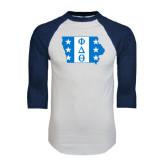 White/Navy Raglan Baseball T-Shirt-Iowa