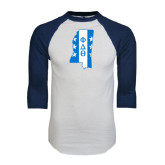 White/Navy Raglan Baseball T-Shirt-Mississippi