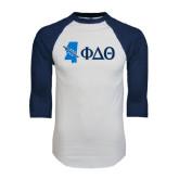 White/Navy Raglan Baseball T-Shirt-Mississippi w/ Greek Letters