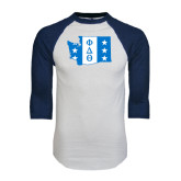 White/Navy Raglan Baseball T-Shirt-Washington