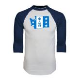 White/Navy Raglan Baseball T-Shirt-Washington