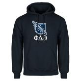Navy Fleece Hoodie-Stacked Shield/Phi Delta Theta Symbols