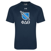 Under Armour Navy Tech Tee-Stacked Shield/Phi Delta Theta