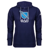 Adidas Climawarm Navy Team Issue Hoodie-Stacked Shield/Phi Delta Theta Symbols