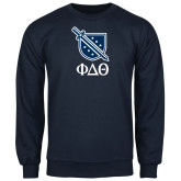 Navy Fleece Crew-Stacked Shield/Phi Delta Theta Symbols