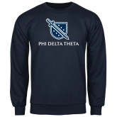 Navy Fleece Crew-Stacked Shield/Phi Delta Theta