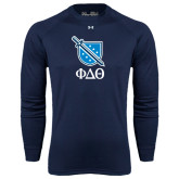 Under Armour Navy Long Sleeve Tech Tee-Stacked Shield/Phi Delta Theta Symbols