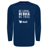 Under Armour Navy Long Sleeve Tech Tee-Be Loyal Be Bold Be True