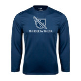 Performance Navy Longsleeve Shirt-Stacked Shield/Phi Delta Theta