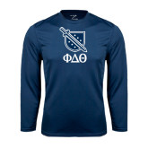 Performance Navy Longsleeve Shirt-Stacked Shield/Phi Delta Theta Symbols