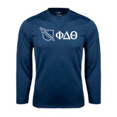 Performance Navy Longsleeve Shirt-Shield/Phi Delta Theta Symbols