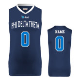 Replica Navy Adult Basketball Jersey-Phi Delta Theta Personalized