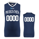 Replica Navy Adult Basketball Jersey-Phi Delta Theta Bond Number