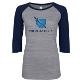 ENZA Ladies Athletic Heather/Navy Vintage Baseball Tee-Stacked Shield/Phi Delta Theta