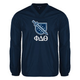 V Neck Navy Raglan Windshirt-Stacked Shield/Phi Delta Theta Symbols