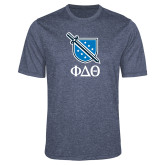 Performance Navy Heather Contender Tee-Stacked Shield/Phi Delta Theta Symbols