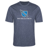 Performance Navy Heather Contender Tee-Stacked Shield/Phi Delta Theta