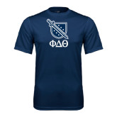 Performance Navy Tee-Stacked Shield/Phi Delta Theta Symbols