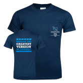 Navy T Shirt w/Pocket-Become the Greatest Version of Yourself
