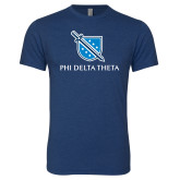 Next Level Vintage Navy Tri Blend Crew-Stacked Shield/Phi Delta Theta