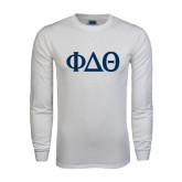 White Long Sleeve T Shirt-Phi Delta Theta Symbols