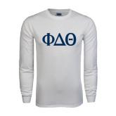 White Long Sleeve T Shirt-Phi Delta Theta Symbols