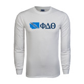 White Long Sleeve T Shirt-Washington w/ Greek Letters