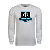 White Long Sleeve T Shirt-Iron Phi Shield