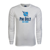 White Long Sleeve T Shirt-Phi Delt Est 1848