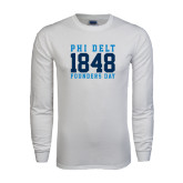 White Long Sleeve T Shirt-Athletic Founders Day Design