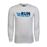 White Long Sleeve T Shirt-Run Phi Delt