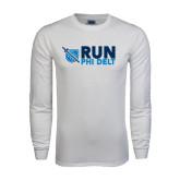 White Long Sleeve T Shirt-Run Phi Delt