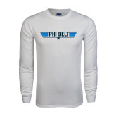 White Long Sleeve T Shirt-Phi Delt Star & Stripes