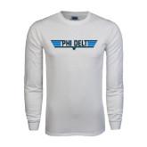 White Long Sleeve T Shirt-Phi Delt Star & Stripes