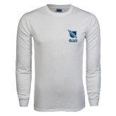 White Long Sleeve T Shirt-Stacked Shield/Phi Delta Theta Symbols