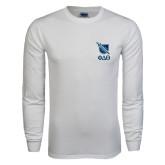 White Long Sleeve T Shirt-Stacked Shield/Phi Delta Theta Symbols