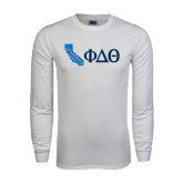 White Long Sleeve T Shirt-California w/ Greek Letters