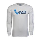 White Long Sleeve T Shirt-California w/ Greek Letters