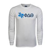 White Long Sleeve T Shirt-Texas w/ Greek Letters